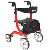 Photo of a Drive Nitro model 4-wheel Rollator in Red | Click to shop all mobility devices and accessory products at NewLeaf